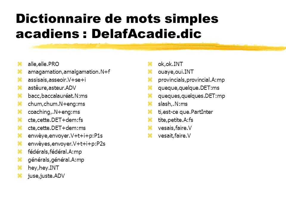 Dictionnaire de mots simples acadiens : DelafAcadie.dic