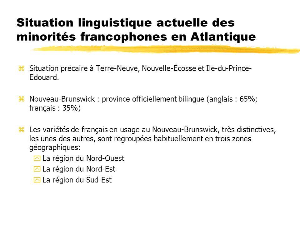 Situation linguistique actuelle des minorités francophones en Atlantique