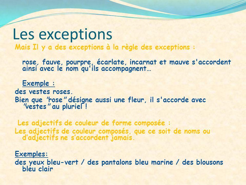 Les exceptions Mais Il y a des exceptions à la règle des exceptions :