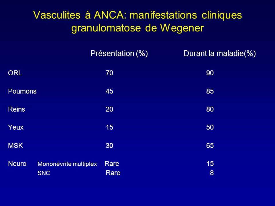 Vasculites à ANCA: manifestations cliniques granulomatose de Wegener