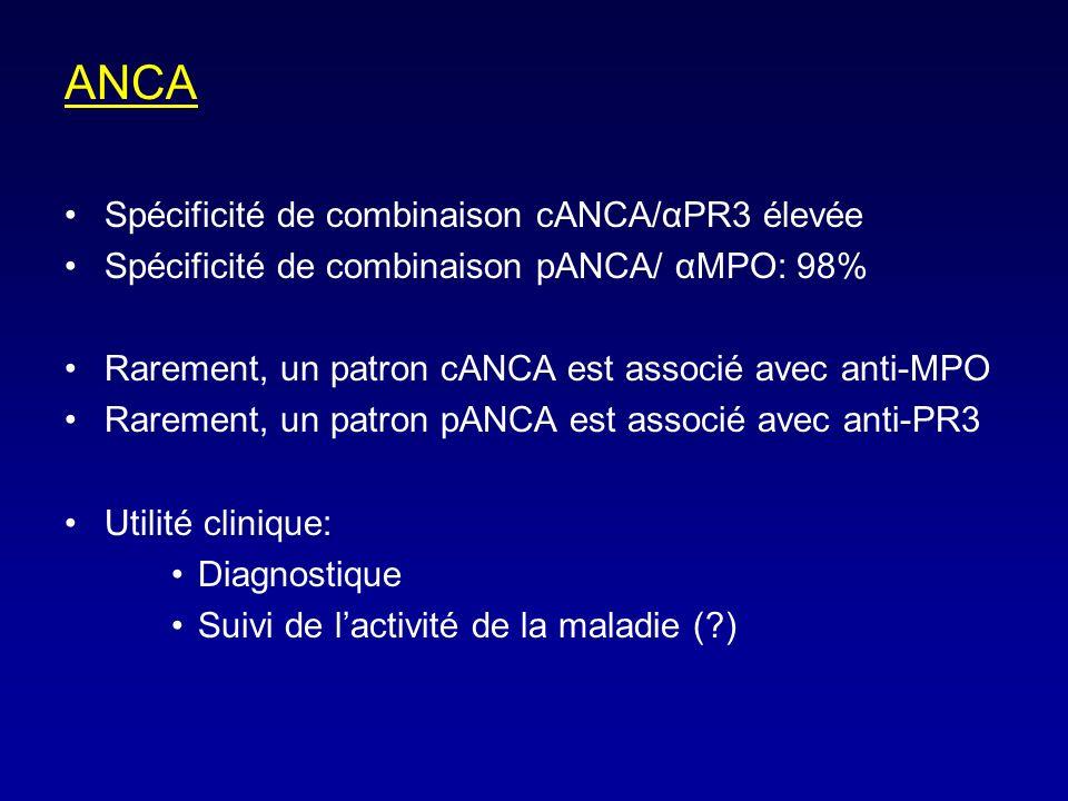 ANCA Spécificité de combinaison cANCA/αPR3 élevée