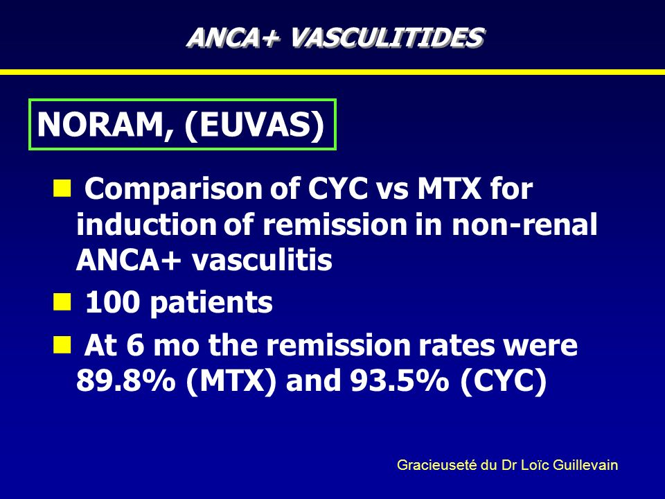 ANCA+ VASCULITIDES NORAM, (EUVAS) Comparison of CYC vs MTX for induction of remission in non-renal ANCA+ vasculitis.