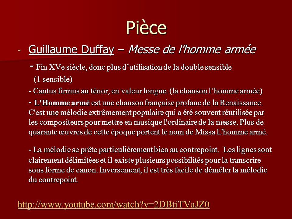 Pièce Guillaume Duffay – Messe de l'homme armée