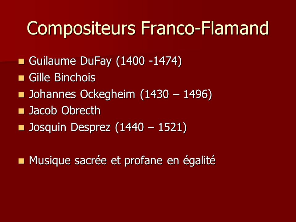 Compositeurs Franco-Flamand