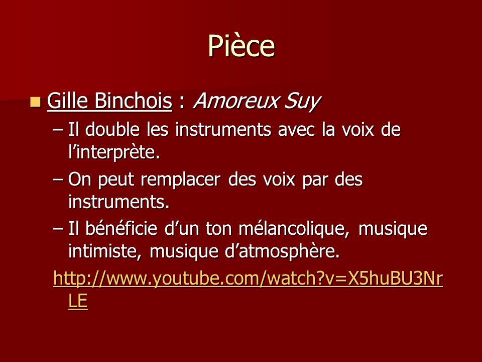 Pièce Gille Binchois : Amoreux Suy