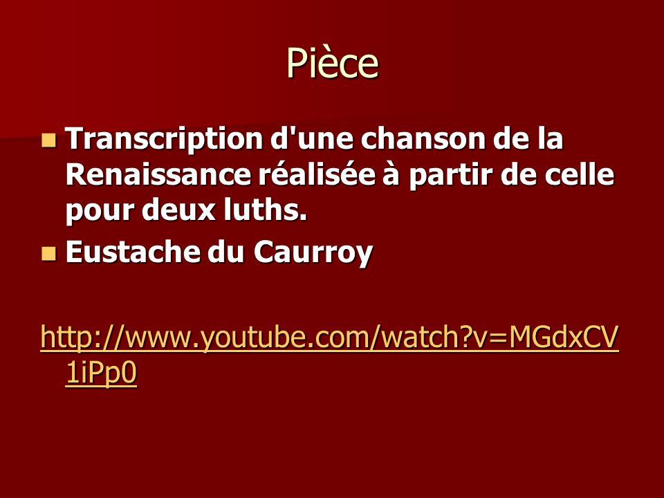 Pièce Transcription d une chanson de la Renaissance réalisée à partir de celle pour deux luths. Eustache du Caurroy.