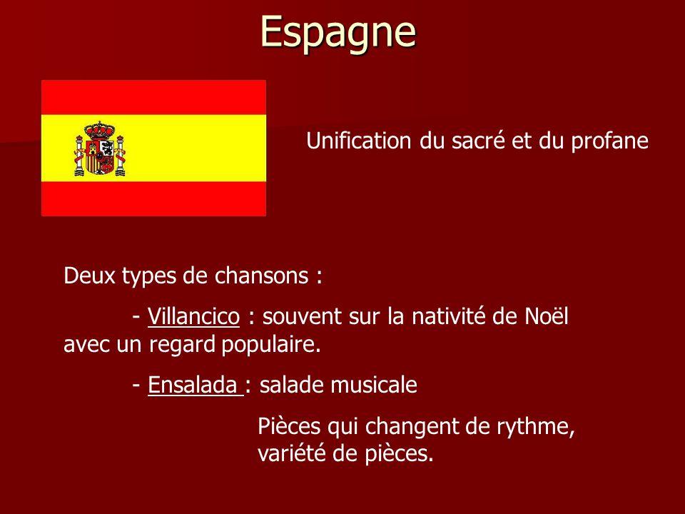 Espagne Unification du sacré et du profane Deux types de chansons :