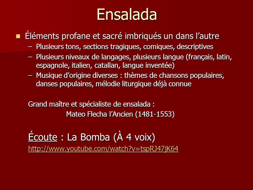 Ensalada Écoute : La Bomba (À 4 voix)