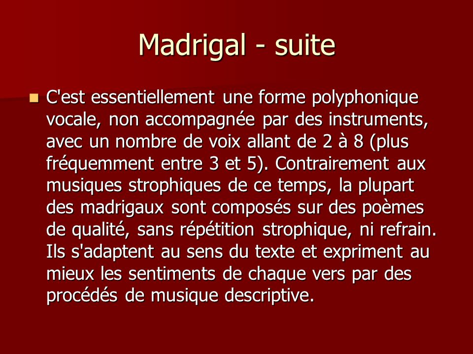 Madrigal - suite