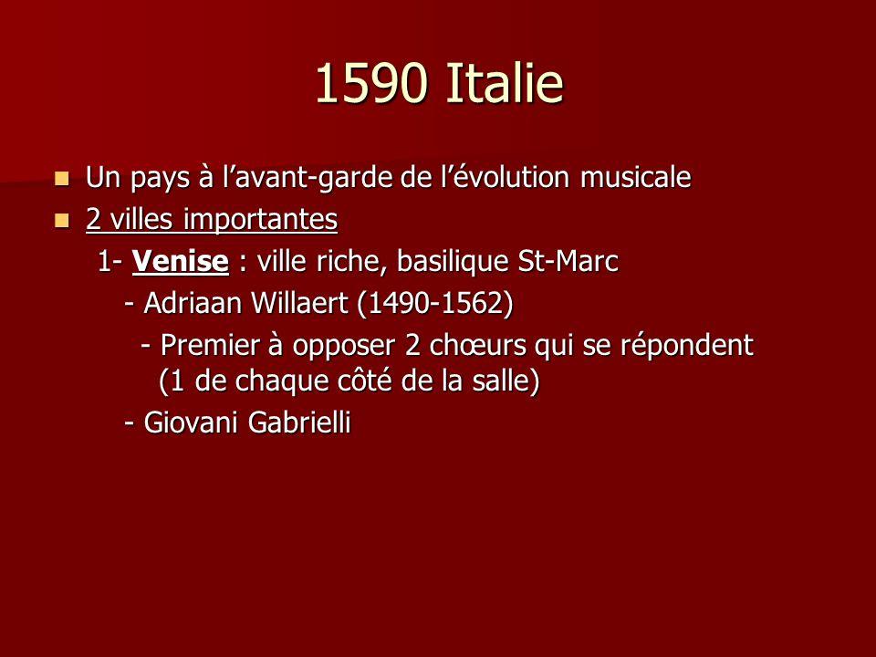 1590 Italie Un pays à l'avant-garde de l'évolution musicale
