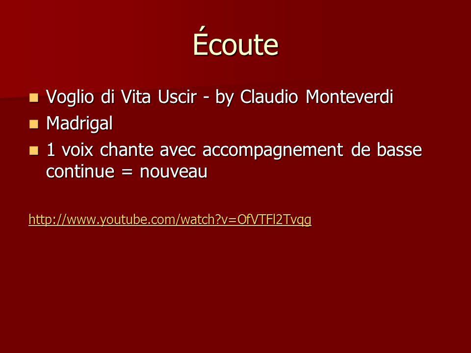 Écoute Voglio di Vita Uscir - by Claudio Monteverdi Madrigal