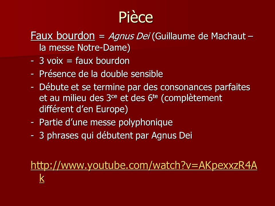 Pièce Faux bourdon = Agnus Dei (Guillaume de Machaut – la messe Notre-Dame) 3 voix = faux bourdon.