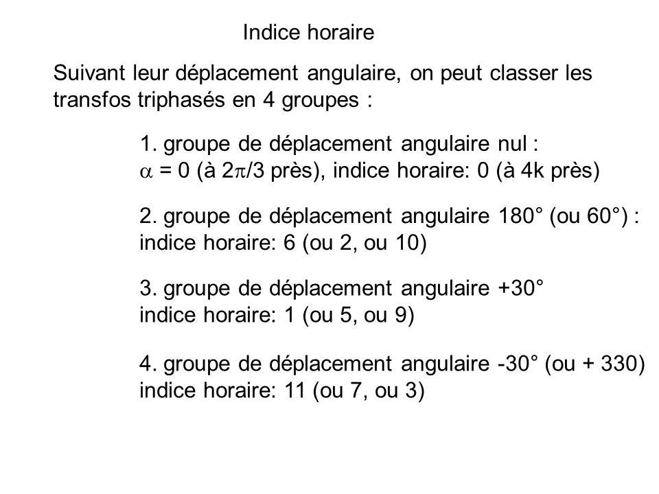 Indice horaire Suivant leur déplacement angulaire, on peut classer les. transfos triphasés en 4 groupes :