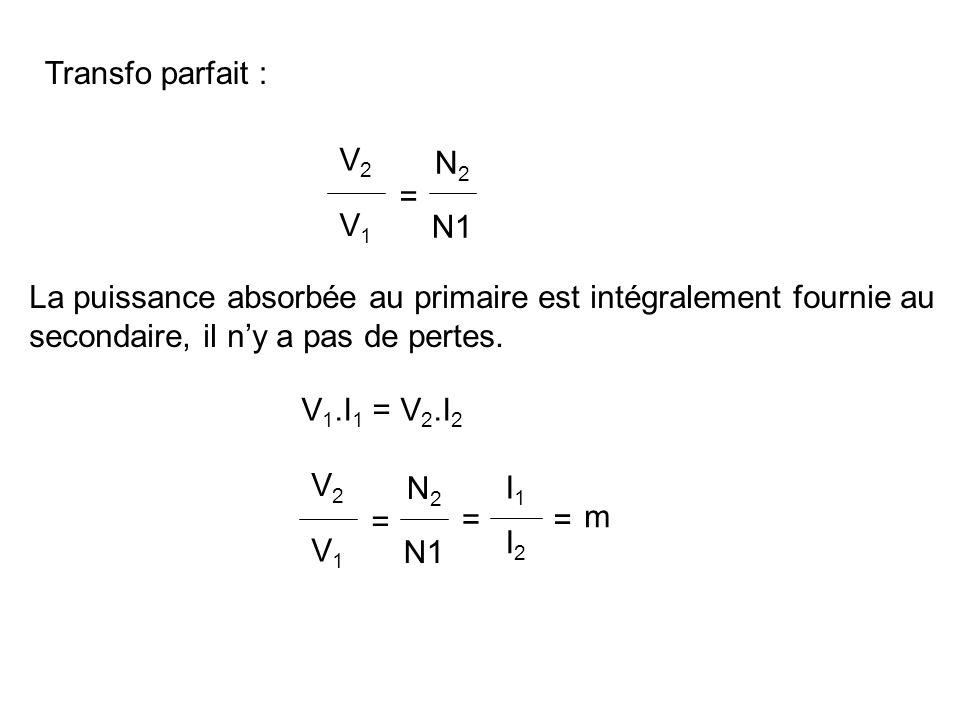 Transfo parfait : V2. V1. = N2. N1. La puissance absorbée au primaire est intégralement fournie au.
