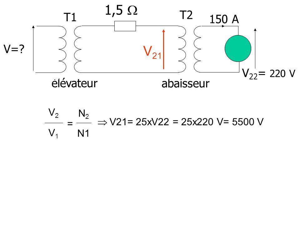 1,5  V21 150 A T1 T2 V= V22= 220 V élévateur abaisseur V2 N2 