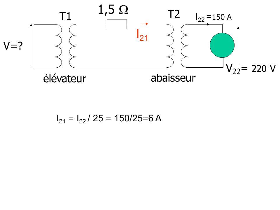 1,5  I21 T2 T1 V= V22= 220 V élévateur abaisseur I22 =150 A