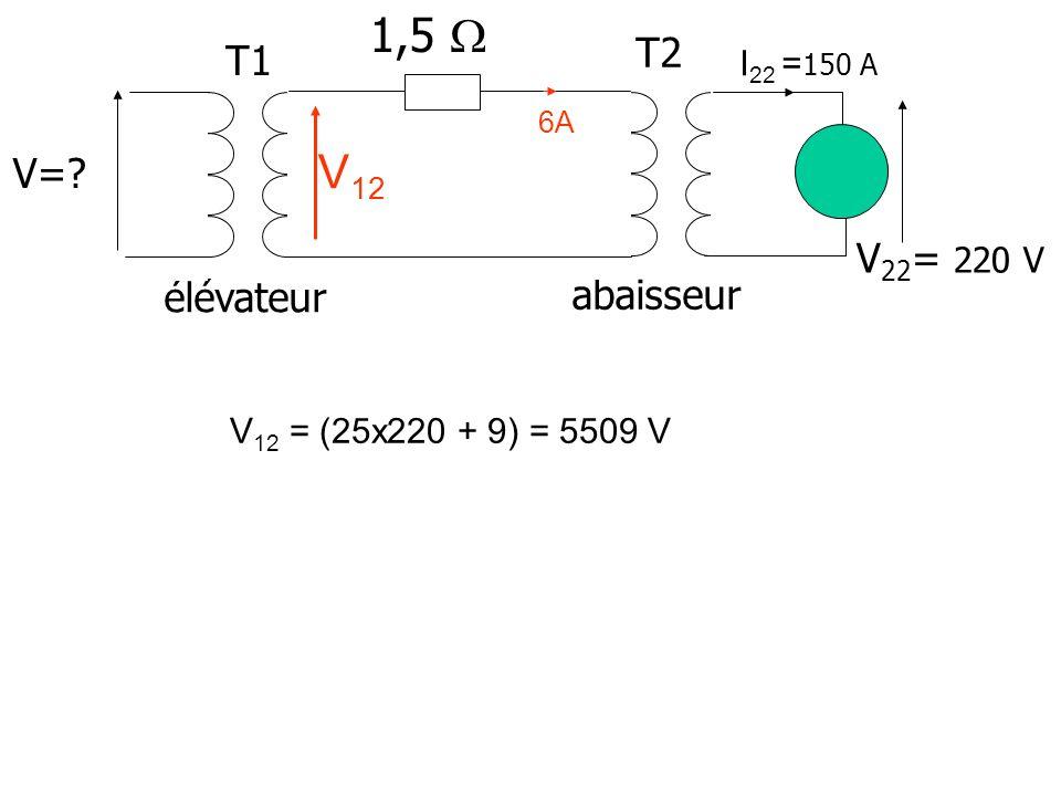 1,5  V12 T2 T1 V= V22= 220 V élévateur abaisseur I22 =150 A