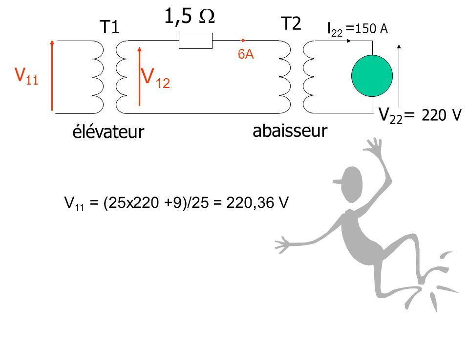 1,5  V12 T2 T1 V11 V22= 220 V élévateur abaisseur I22 =150 A