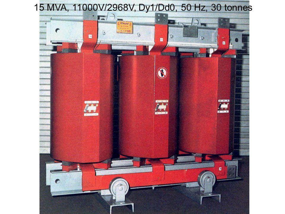15 MVA, 11000V/2968V, Dy1/Dd0, 50 Hz, 30 tonnes