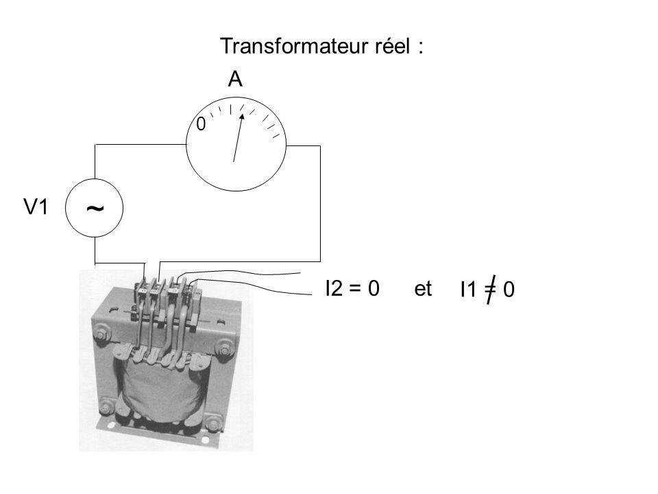 Transformateur réel : A ~ V1 I2 = 0 et I1 = 0