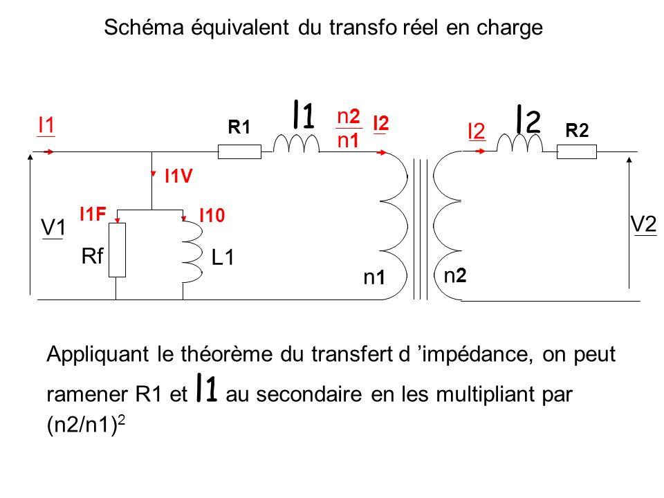 Schéma équivalent du transfo réel en charge