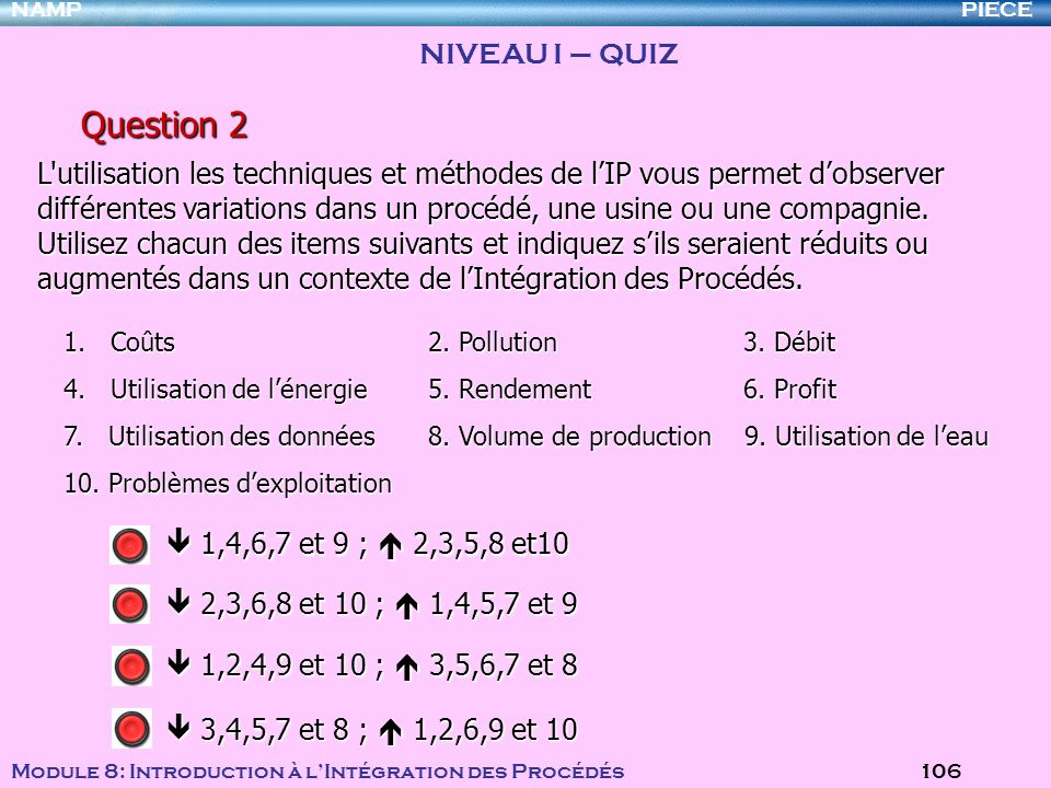Question 2 NIVEAU I – QUIZ