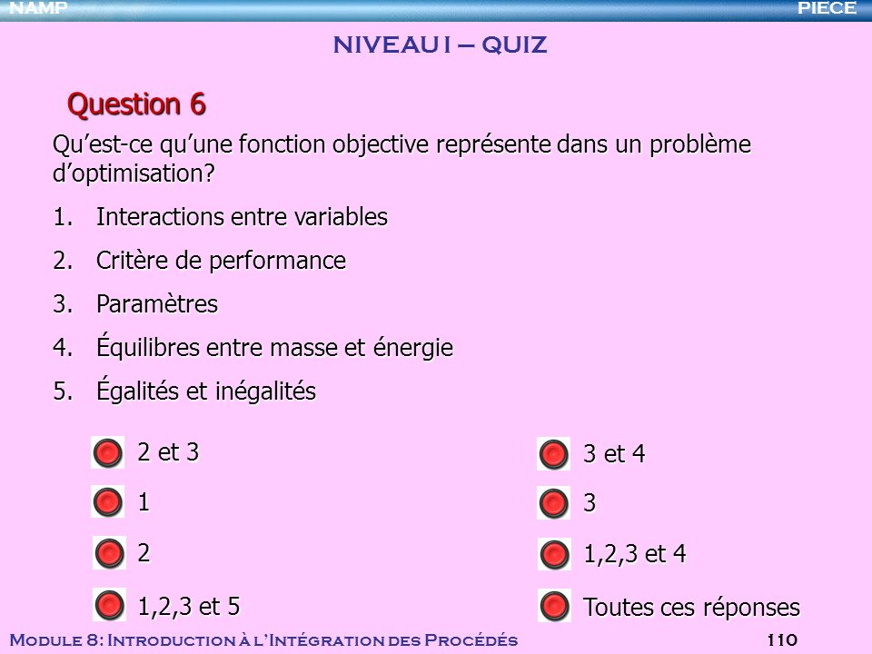 Question 6 NIVEAU I – QUIZ