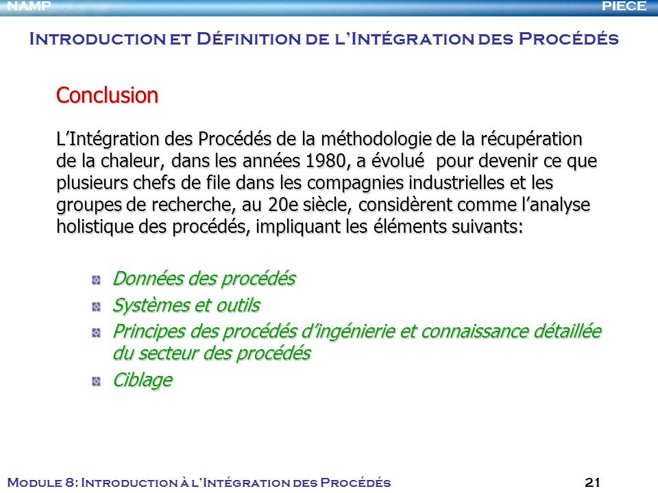 Conclusion Introduction et Définition de l'Intégration des Procédés