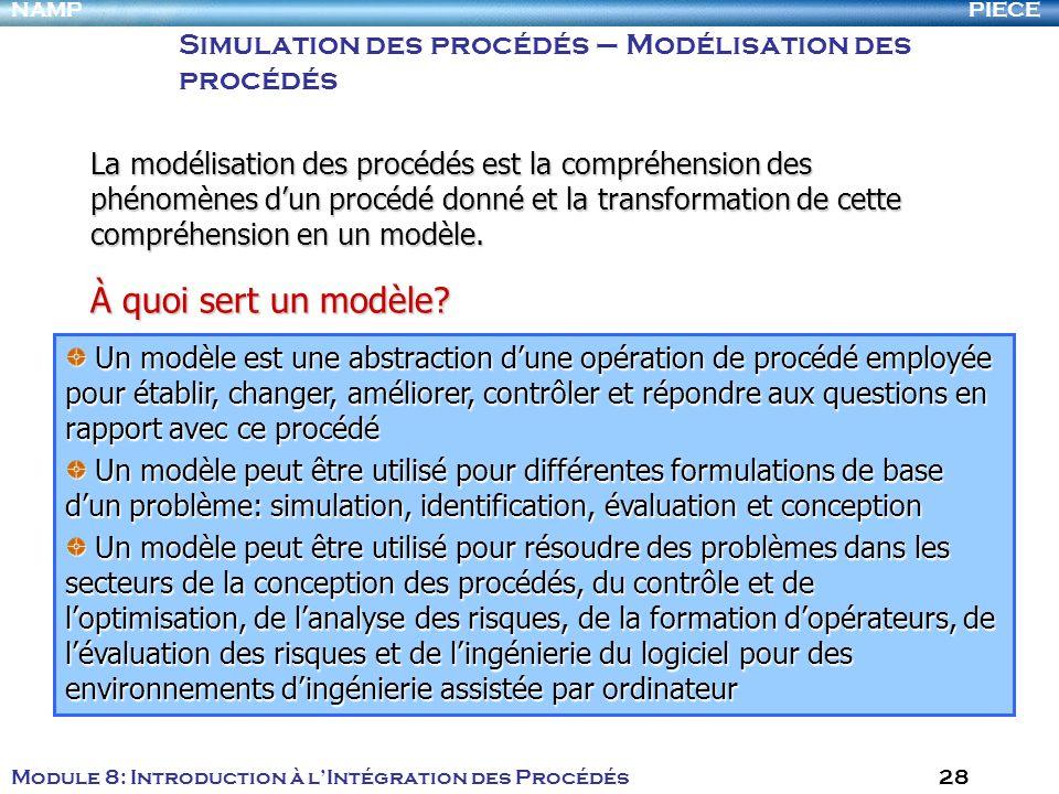 Simulation des procédés – Modélisation des procédés