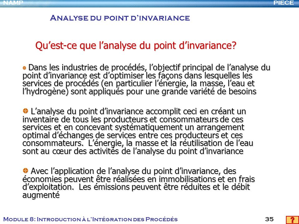 Qu'est-ce que l'analyse du point d'invariance