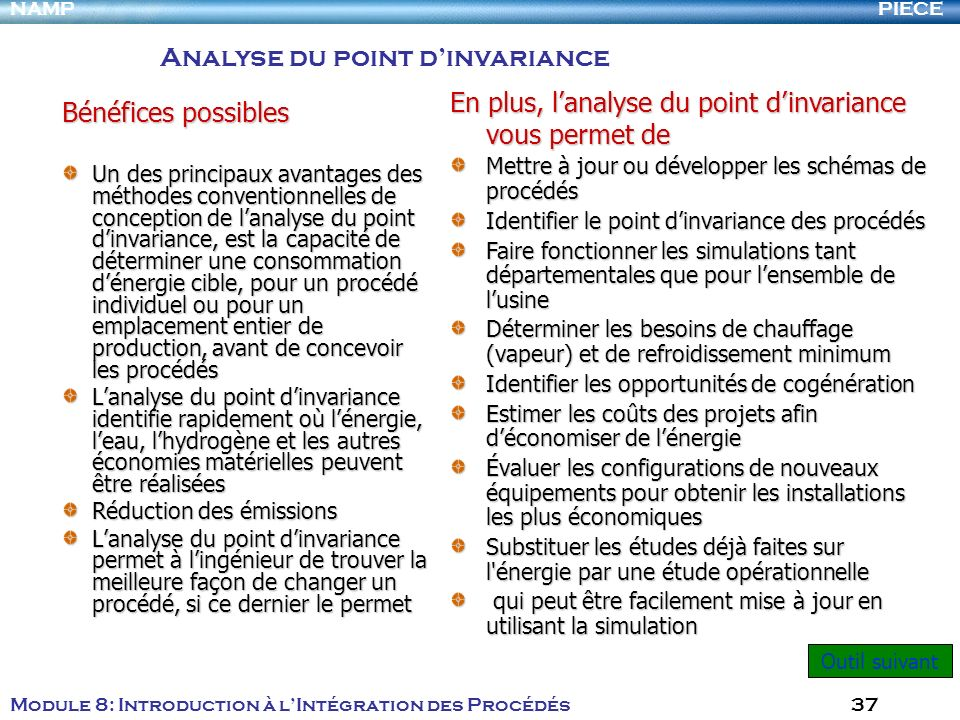 Analyse du point d'invariance