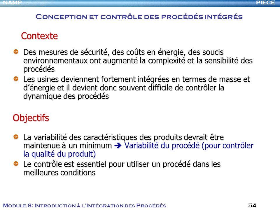 Contexte Objectifs Conception et contrôle des procédés intégrés