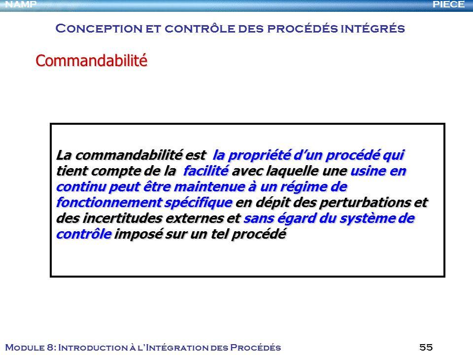 Commandabilité Conception et contrôle des procédés intégrés