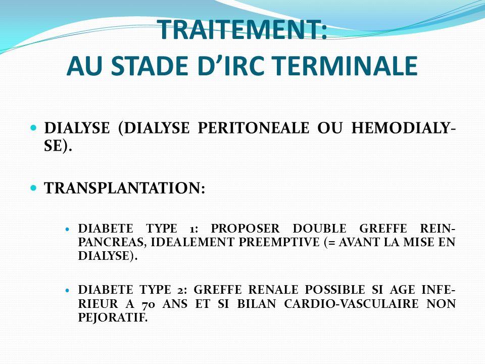 TRAITEMENT: AU STADE D'IRC TERMINALE
