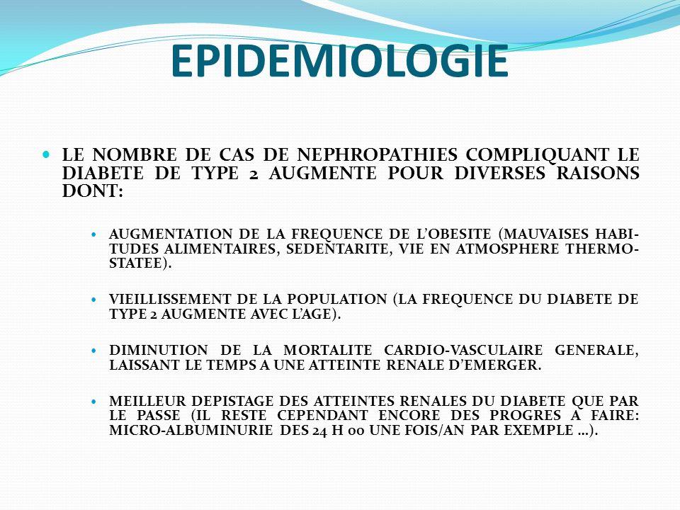 EPIDEMIOLOGIE LE NOMBRE DE CAS DE NEPHROPATHIES COMPLIQUANT LE DIABETE DE TYPE 2 AUGMENTE POUR DIVERSES RAISONS DONT: