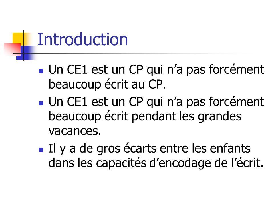 Introduction Un CE1 est un CP qui n'a pas forcément beaucoup écrit au CP.