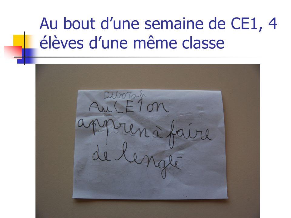 Au bout d'une semaine de CE1, 4 élèves d'une même classe
