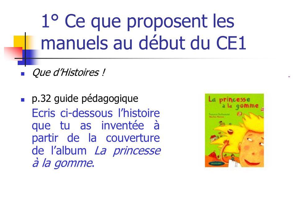 1° Ce que proposent les manuels au début du CE1