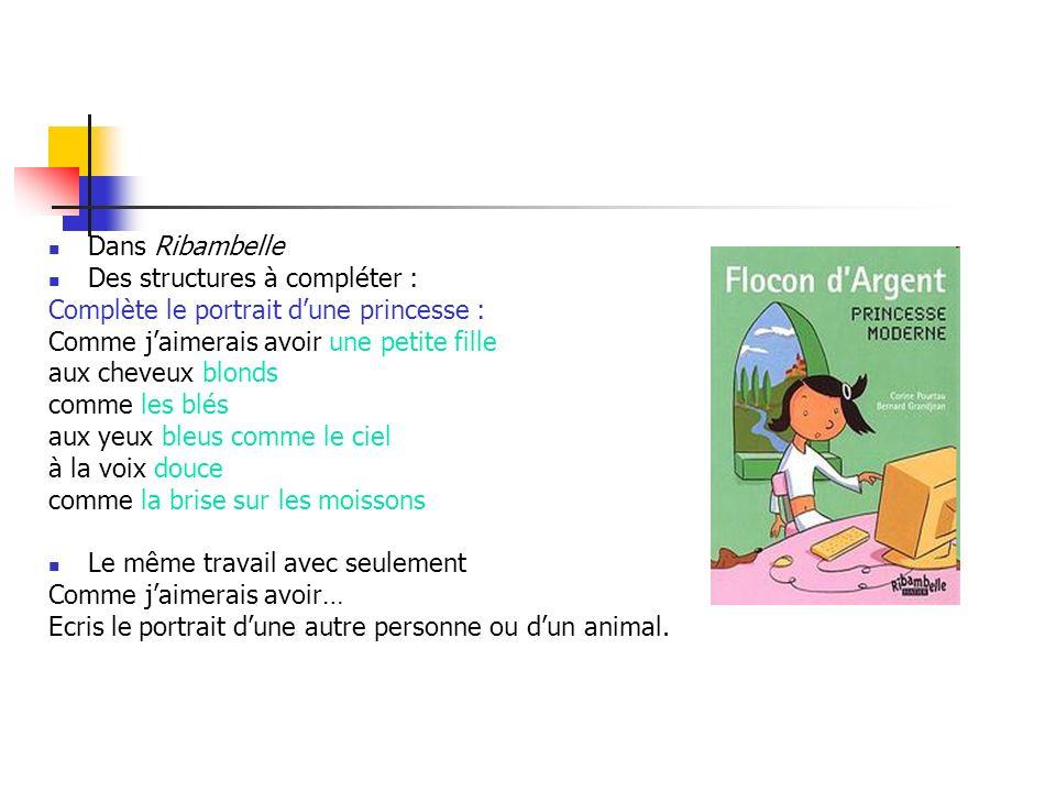 Dans Ribambelle Des structures à compléter : Complète le portrait d'une princesse : Comme j'aimerais avoir une petite fille.