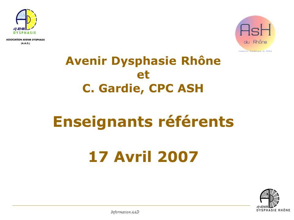 Avenir Dysphasie Rhône Enseignants référents