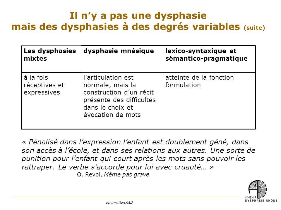 Il n'y a pas une dysphasie