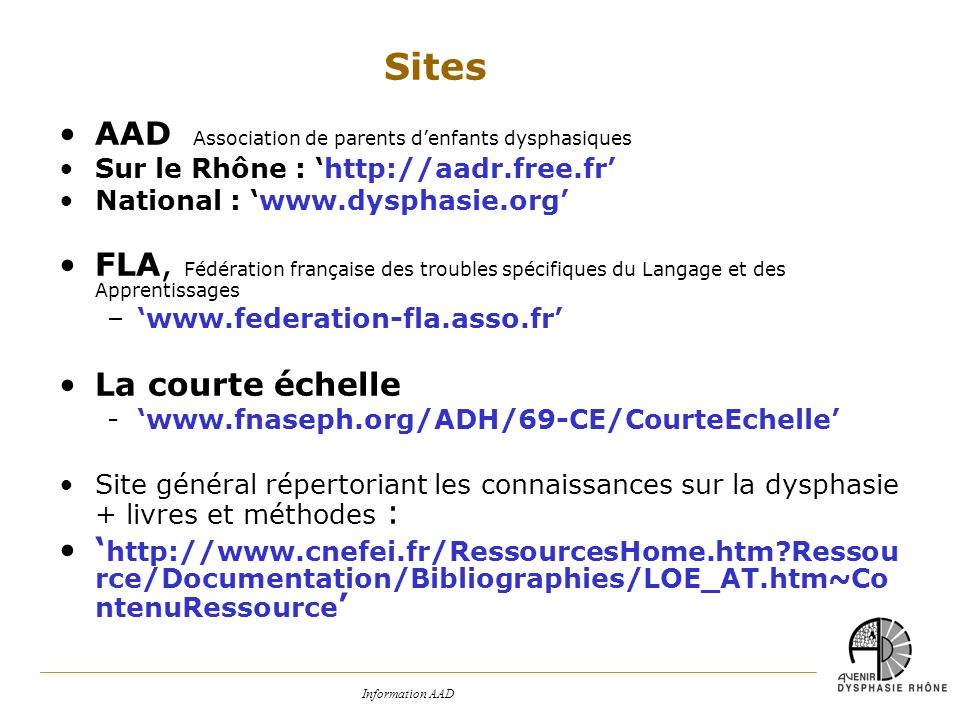 Sites AAD Association de parents d'enfants dysphasiques