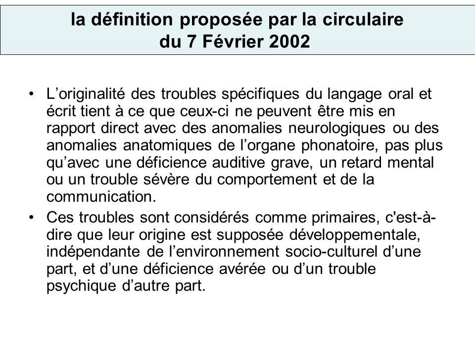 la définition proposée par la circulaire du 7 Février 2002