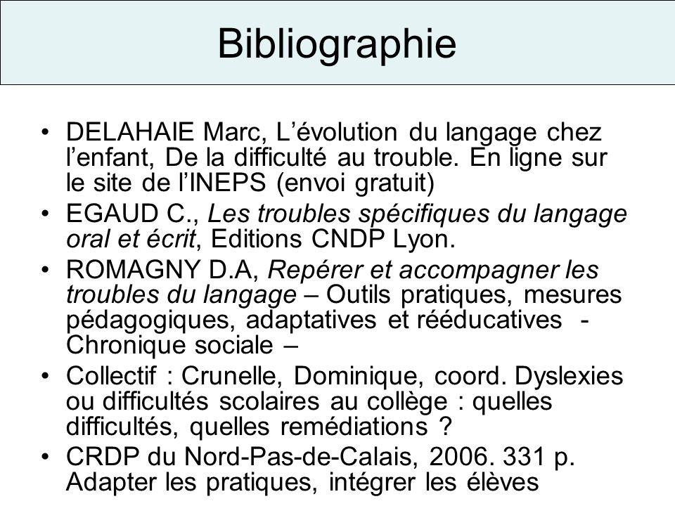 Bibliographie DELAHAIE Marc, L'évolution du langage chez l'enfant, De la difficulté au trouble. En ligne sur le site de l'INEPS (envoi gratuit)