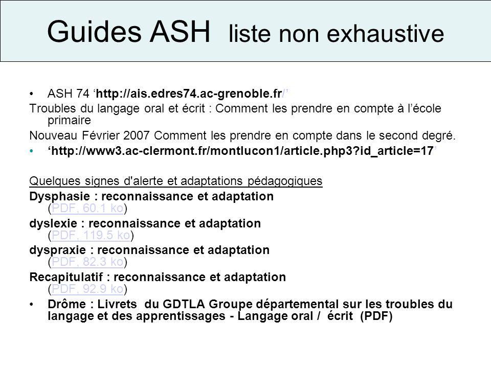 Guides ASH liste non exhaustive