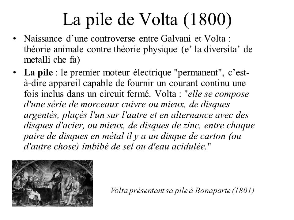 La pile de Volta (1800)
