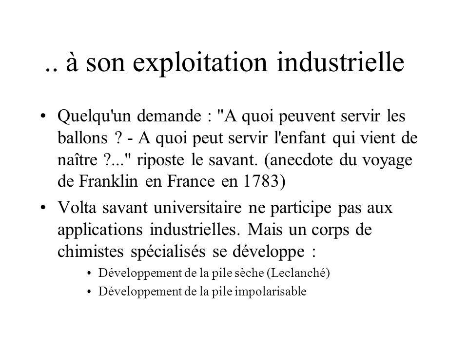 .. à son exploitation industrielle