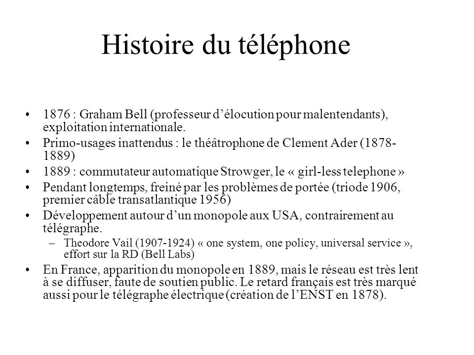 Histoire du téléphone 1876 : Graham Bell (professeur d'élocution pour malentendants), exploitation internationale.