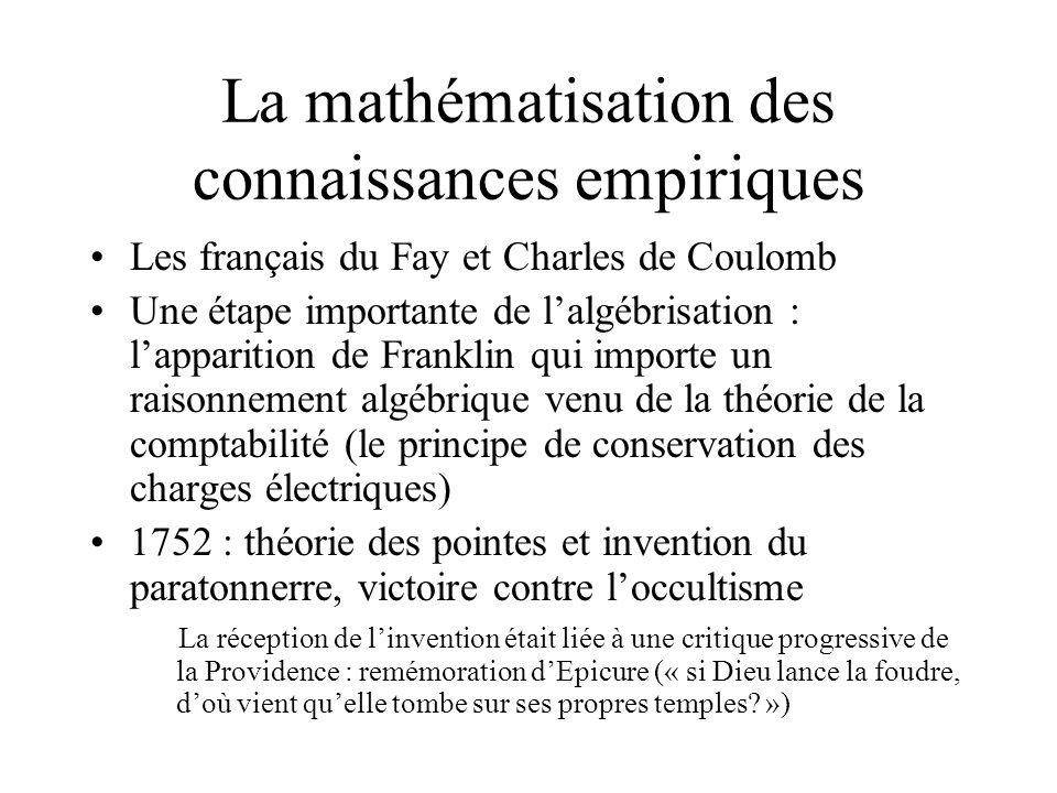 La mathématisation des connaissances empiriques
