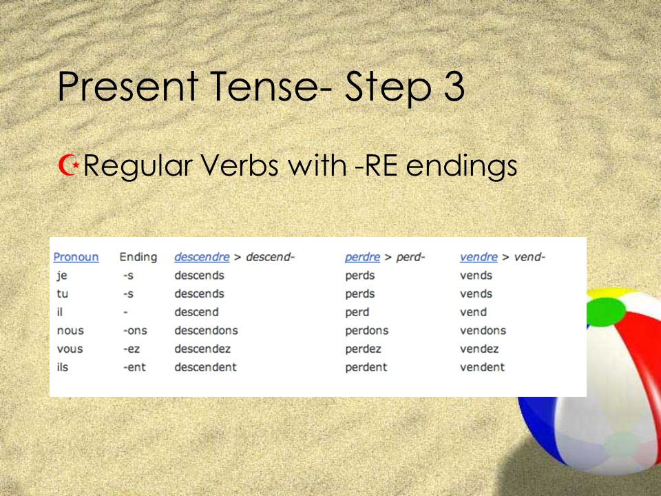 Present Tense- Step 3 Regular Verbs with -RE endings